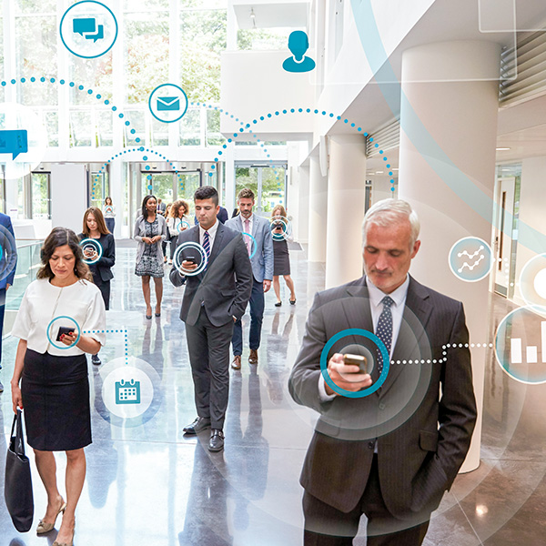 business people using technology and online cloud services